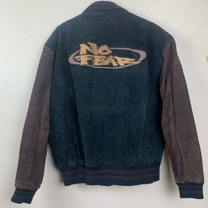 No Fear 90s Vintage Bomber Jacket Suede Logo